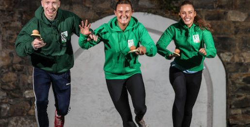 Cian Lynch, Nikki Evans and Roz Purcell running with egg and spoon